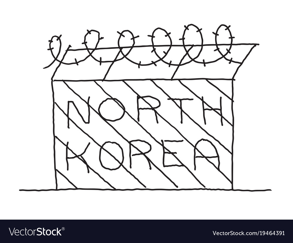 Hand-drawn fence with barbed wire north korea Vector Image