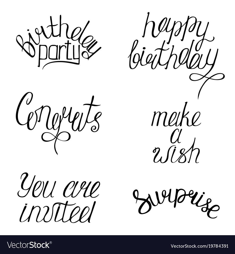 Set of happy birthdays calligraphy phrases