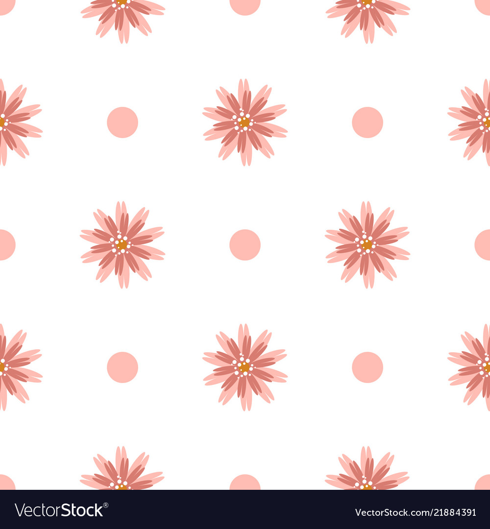 Simple White Seamless Pattern With Flowers And Vector Image