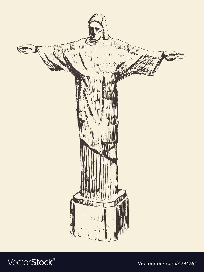 Statue of Jesus Christ Rio de Janeiro Brazil vector image