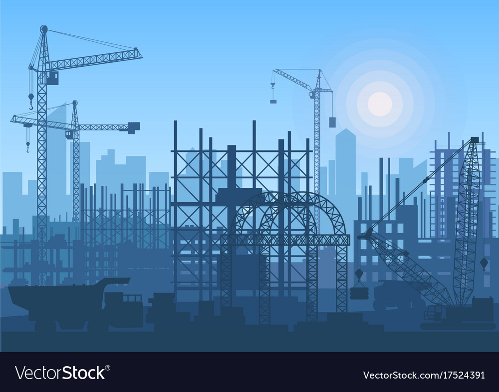 Tower cranes on construction site buildings under