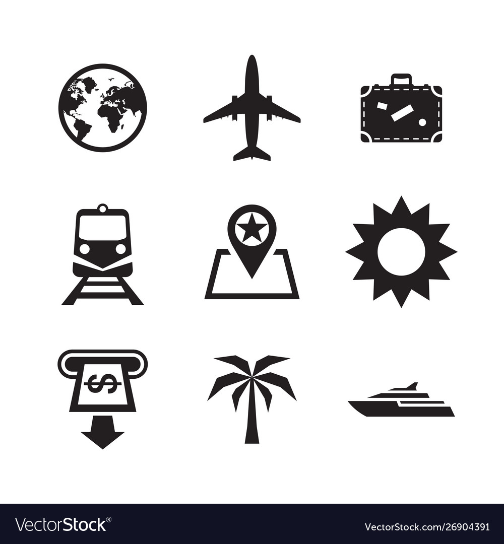 Travel vacation icons set sig