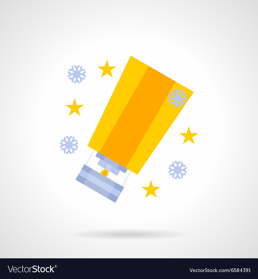 Yellow bright sky lantern flat color icon