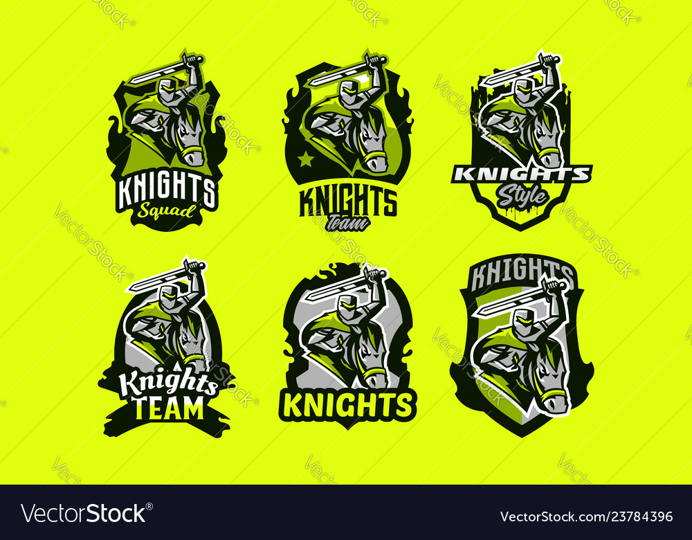A set of colorful emblems logos of a knight