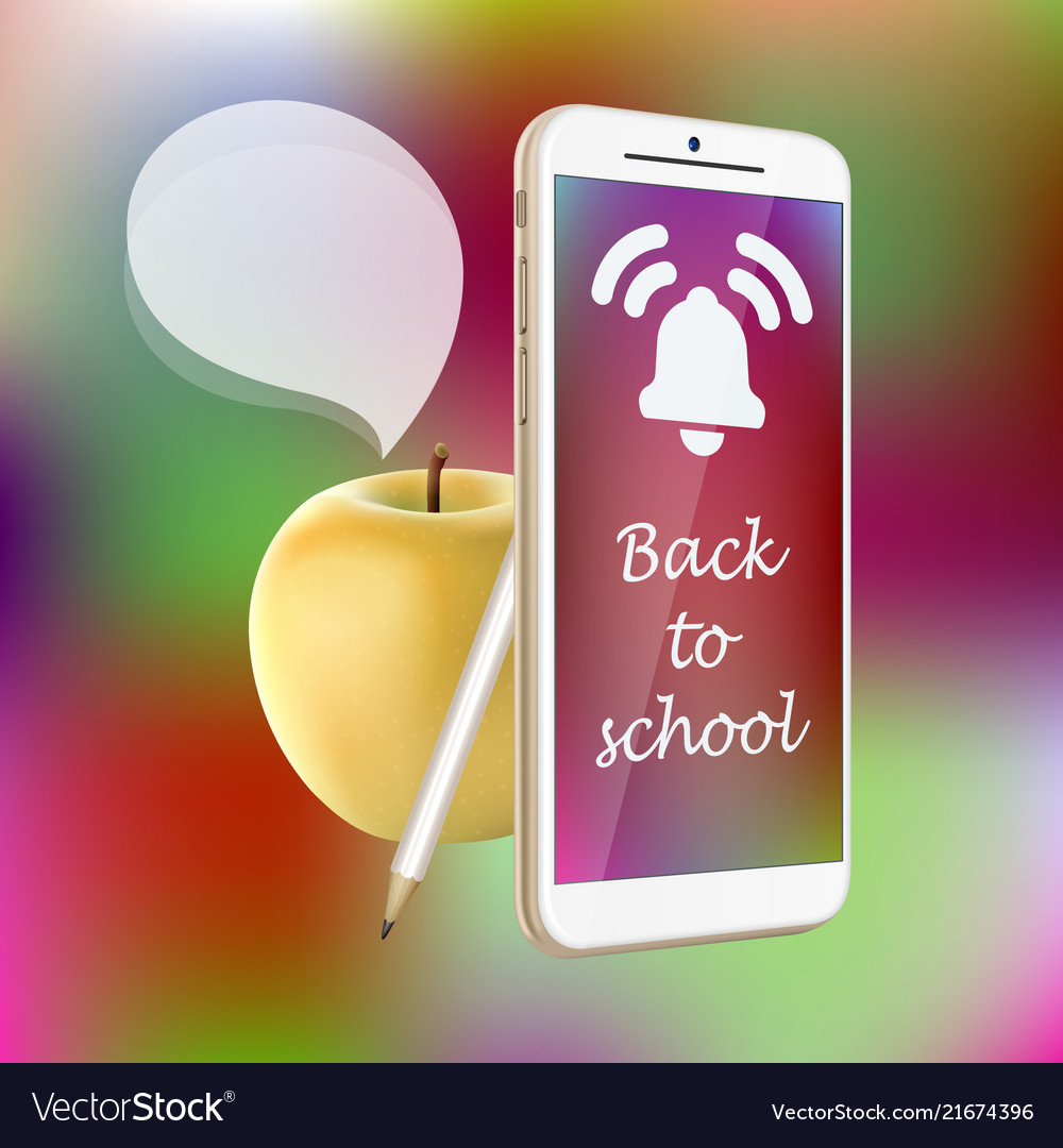 Back to school smartphone yellow apple pencil
