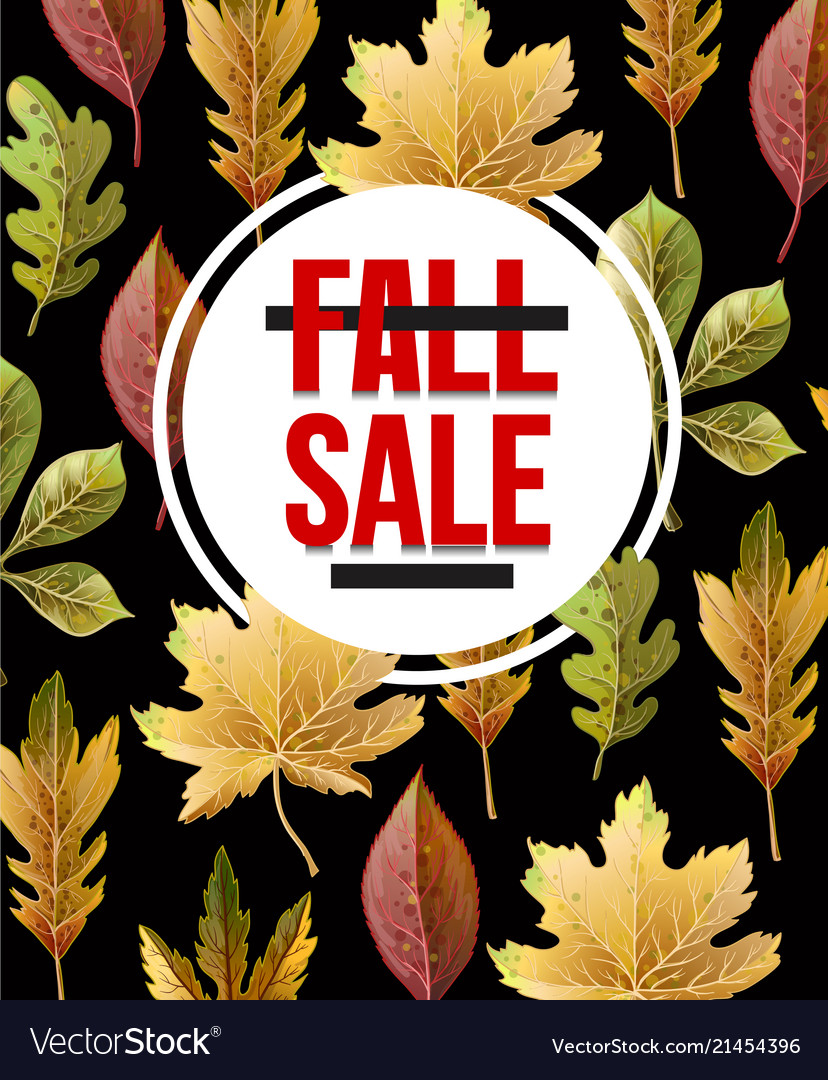 Banner sale with autumn yellow leaves and berries