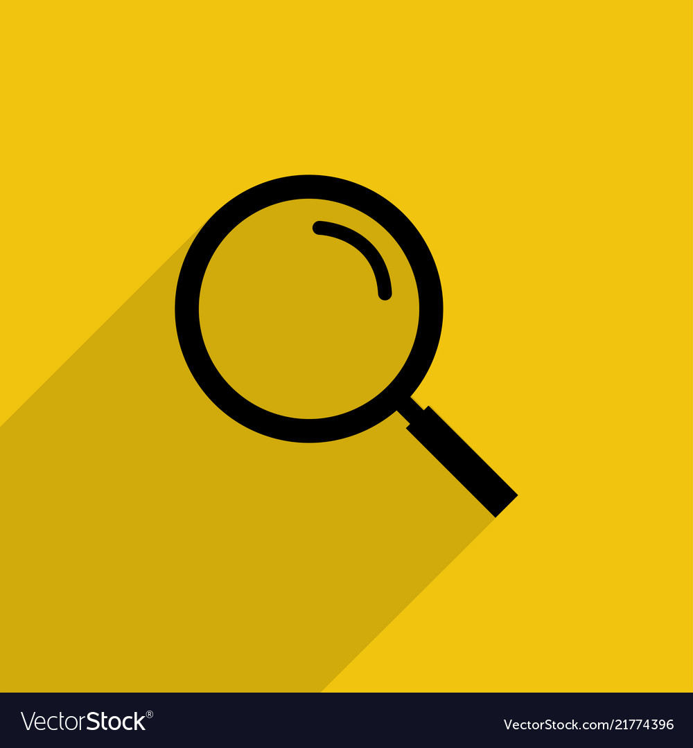 Black magnifying glass with shadow in flat style
