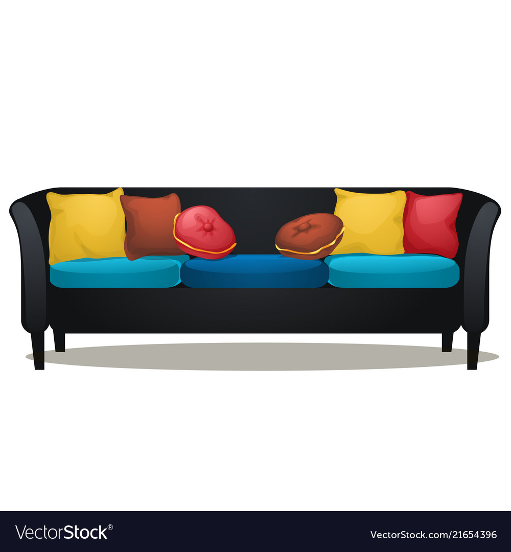 Black sofa with colored soft pillows isolated on