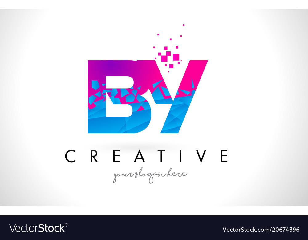 By b y letter logo with shattered broken blue vector image