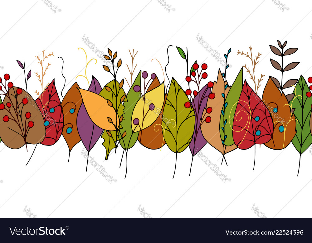 Doodle border with colorful autumn leaves