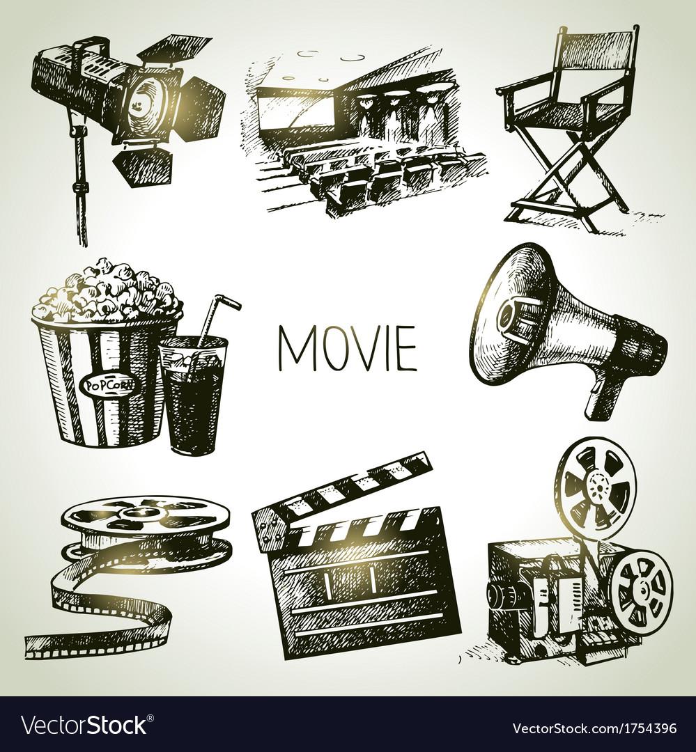 Hand drawn vintage Movie and film set
