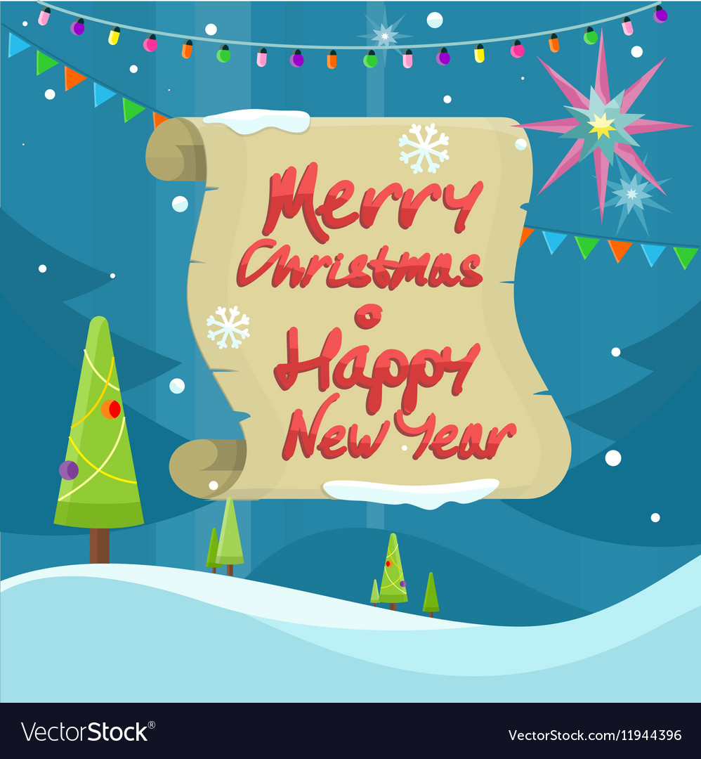 Merry Christmas and Happy New Year Colorful Banner