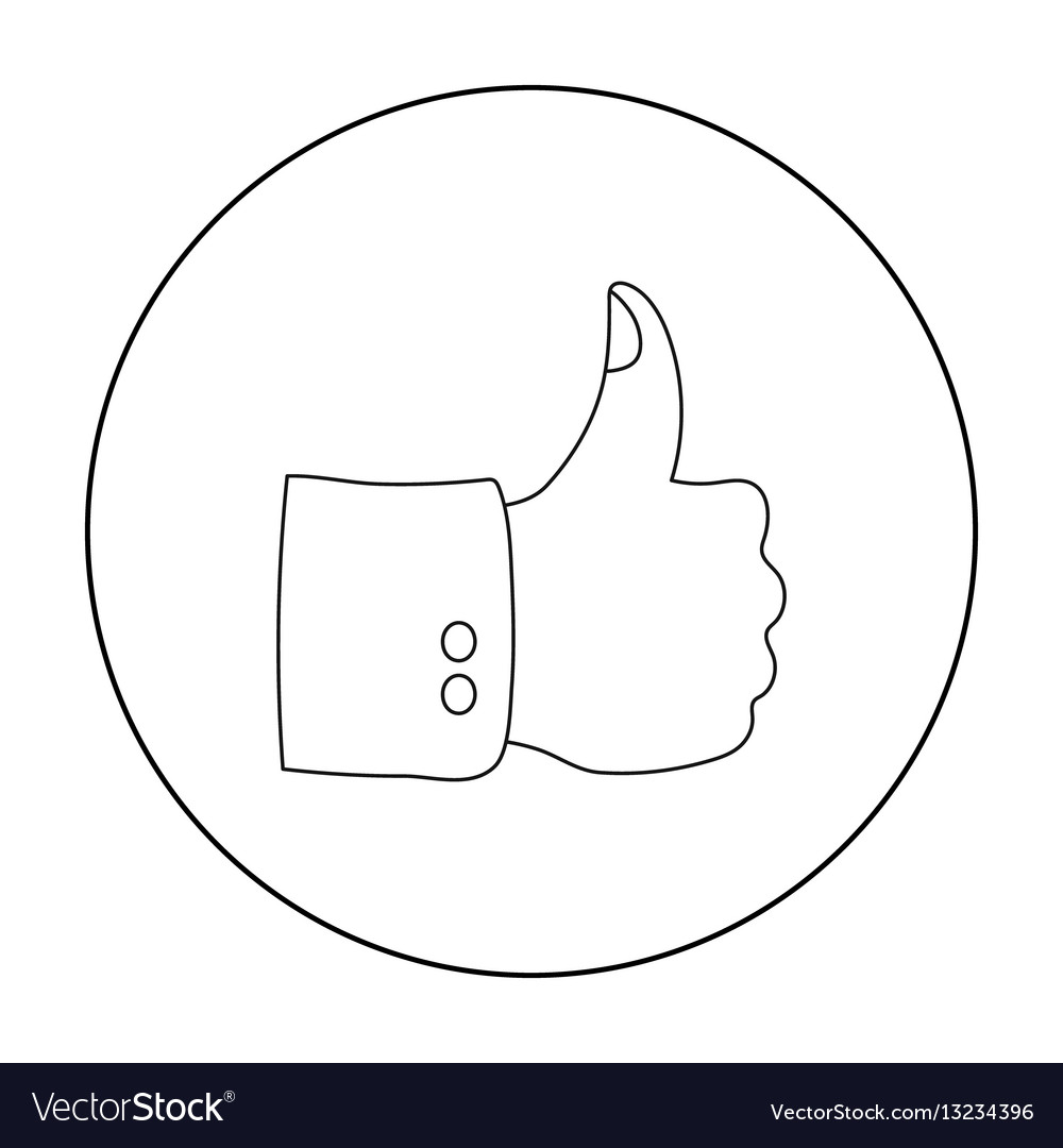 Patriotic thumb up icon in outline style isolated