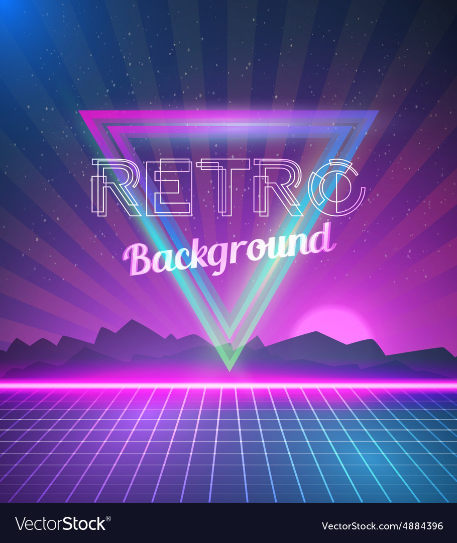 Retro Disco 80s Neon Poster made in Tron style