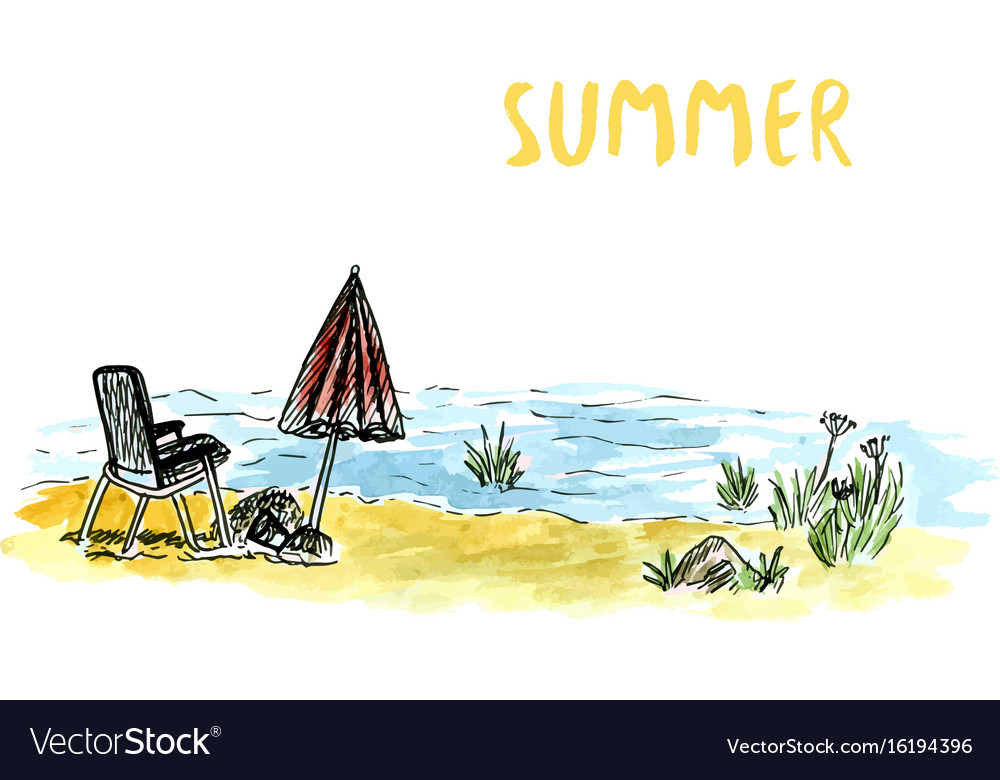 Sketch art with beach armchair and umbrella river vector image