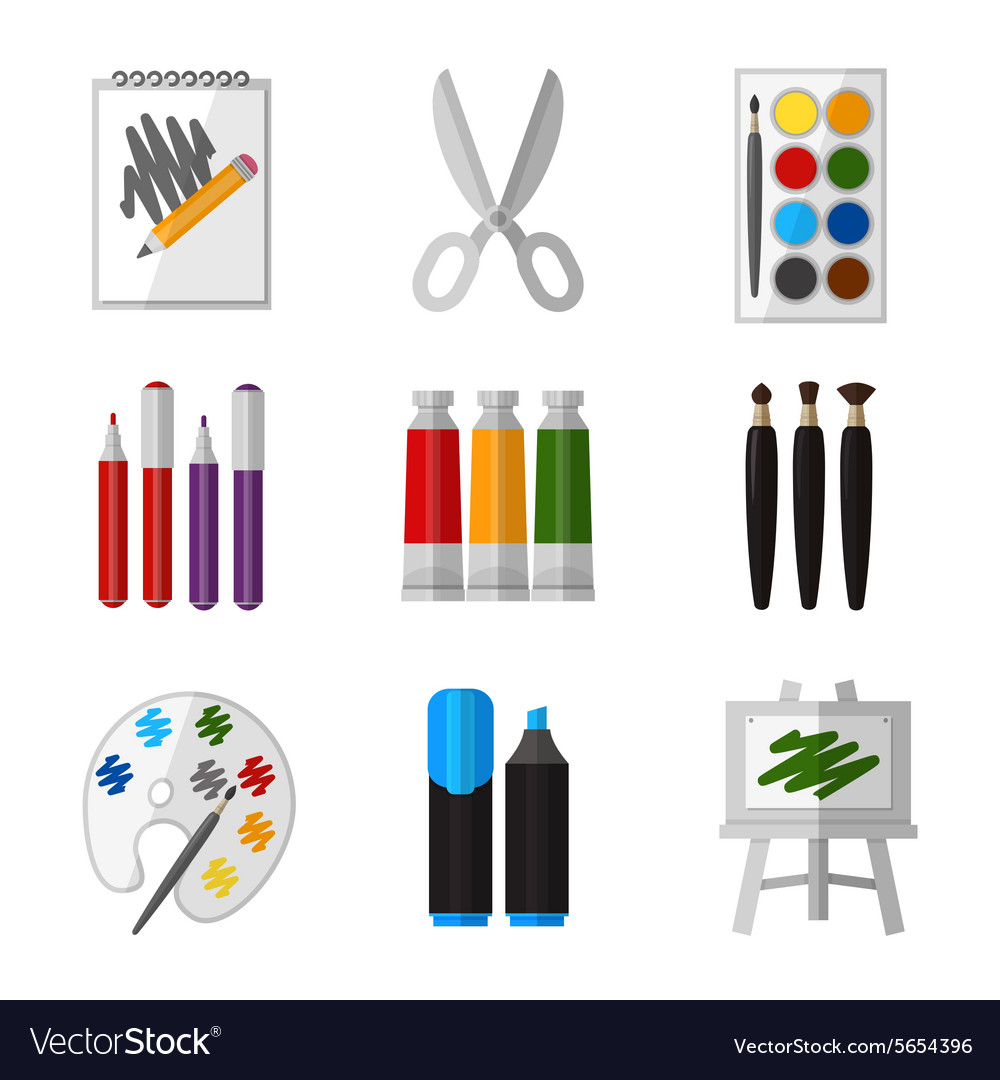 Tool set for artist in flat design style