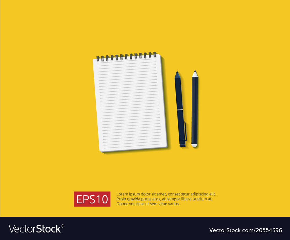 Top view of empty note paper sheet with pencil vector image