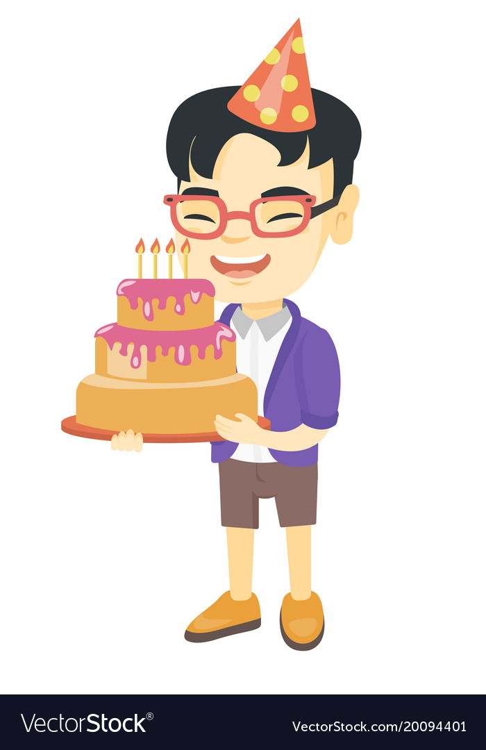 Prime Asian Child Holding Birthday Cake With Candles Vector Image Funny Birthday Cards Online Inifofree Goldxyz