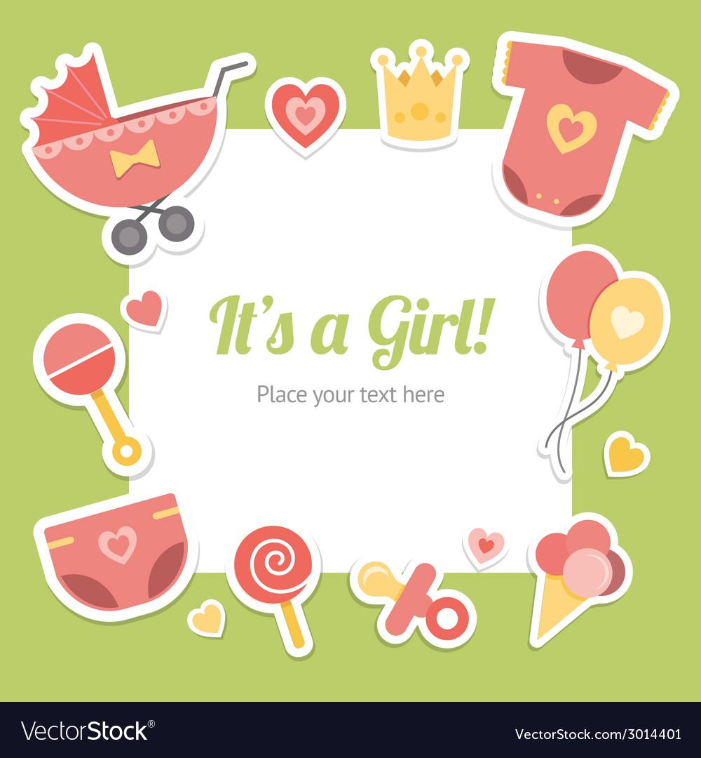 Baby shower for girl vector image