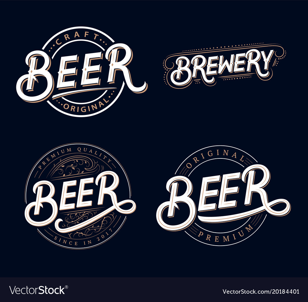 Beer and brewery hand written lettering logos