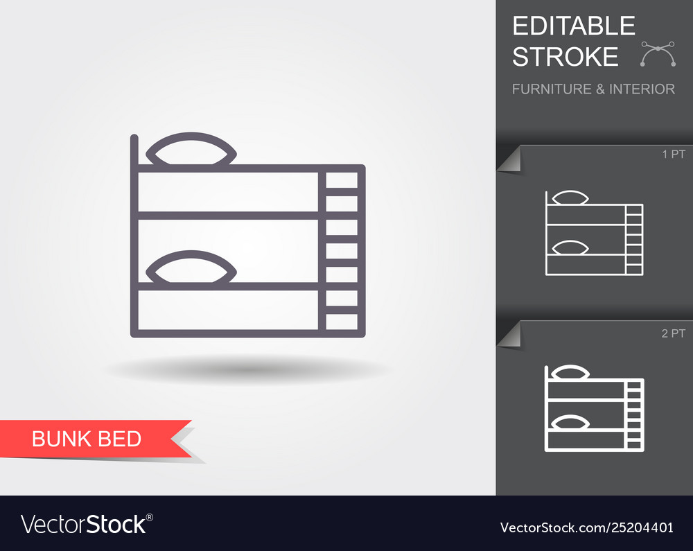Bunk bed line icon with editable stroke with
