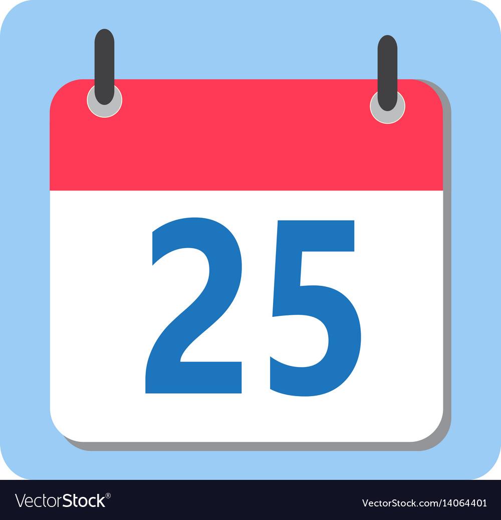 christmas date 25 december modern calendar icon vector image rh vectorstock com calendar icon vector png calendar icon vector free