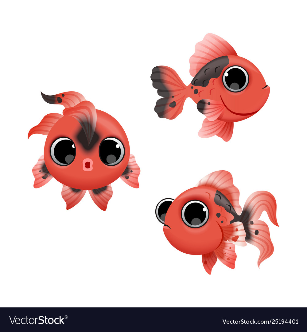 Cute cartoon golden fishes set isolated on white
