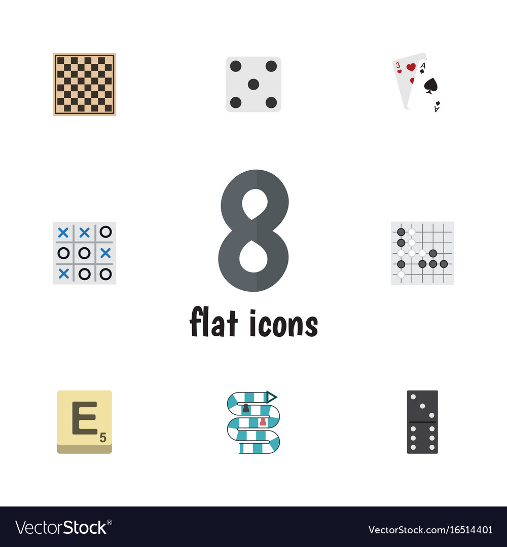 Flat icon play set of bones game multiplayer ace vector image