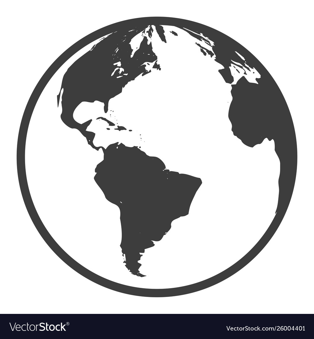Globe black icon round silhouette geography