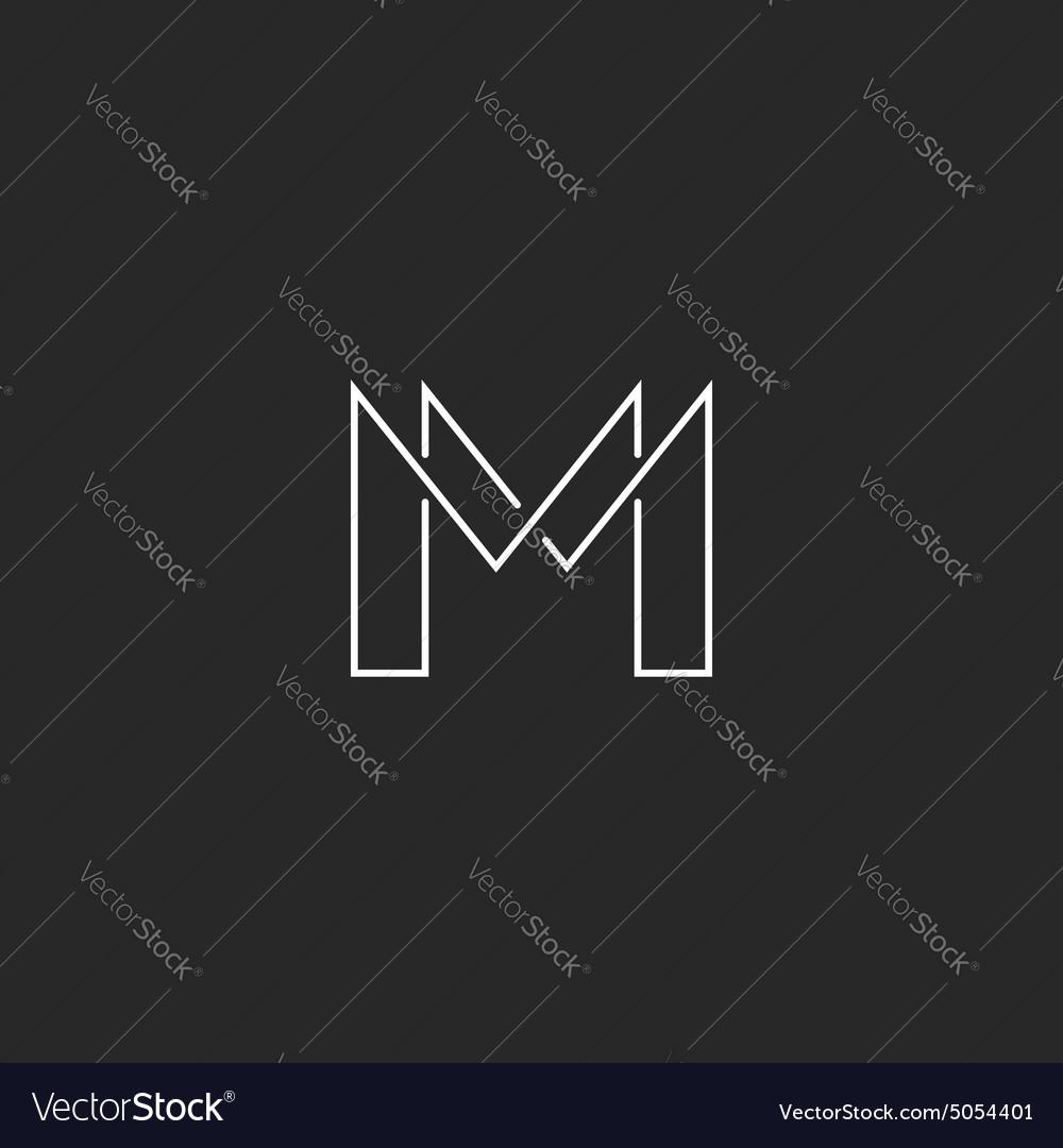 M letter thin line monogram logo modern design for