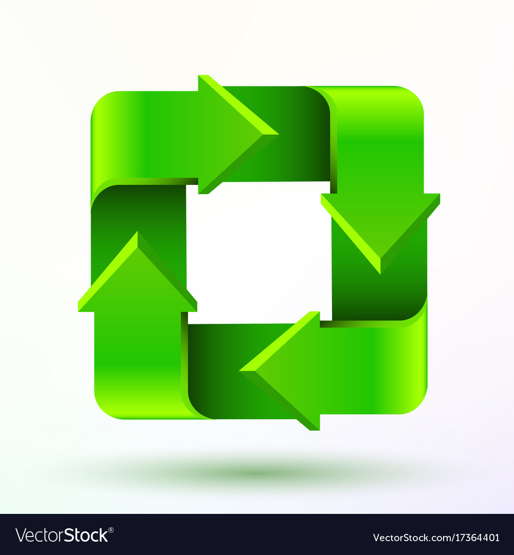 Recycle symbol or sign of conservation green icon