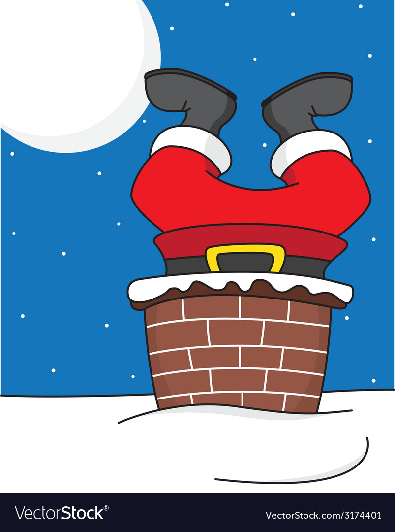 Santa Claus Comes Down The Chimney Royalty Free Vector Image