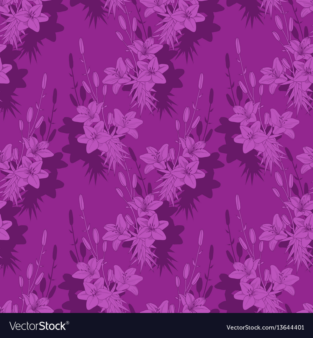 Seamless floral pattern texture with lilies on