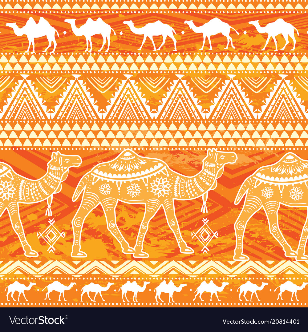 Seamless pattern with camels and ethnic motifs