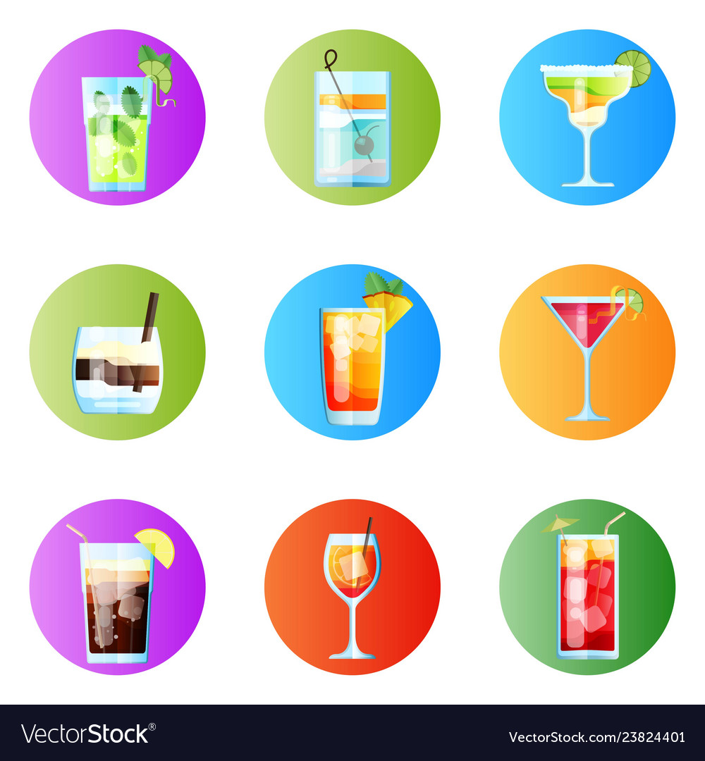 Set nine tropical cocktails rounded image