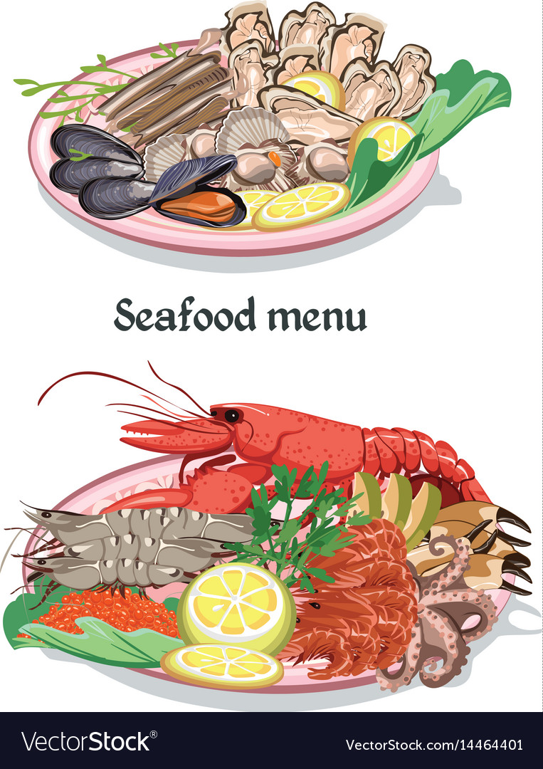 Sketch colorful seafood menu concept