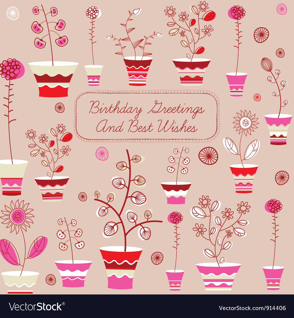Birthday card with flowers royalty free vector image birthday card with flowers vector image izmirmasajfo