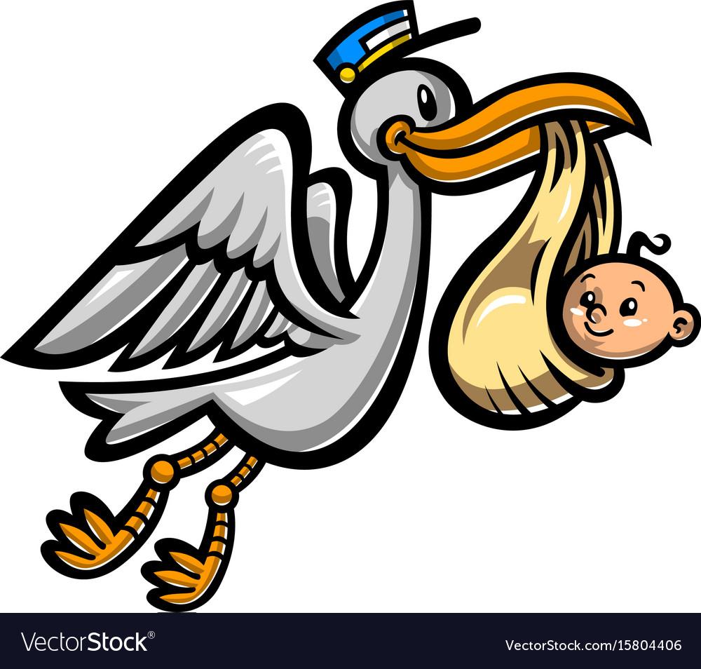 cartoon flying stork bird delivering a baby vector image