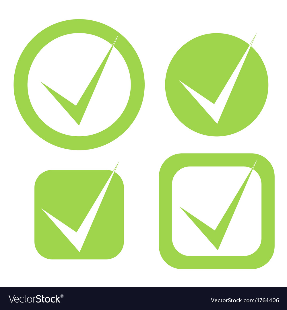 Check Mark Stickers In Eco Green Color Vector Image