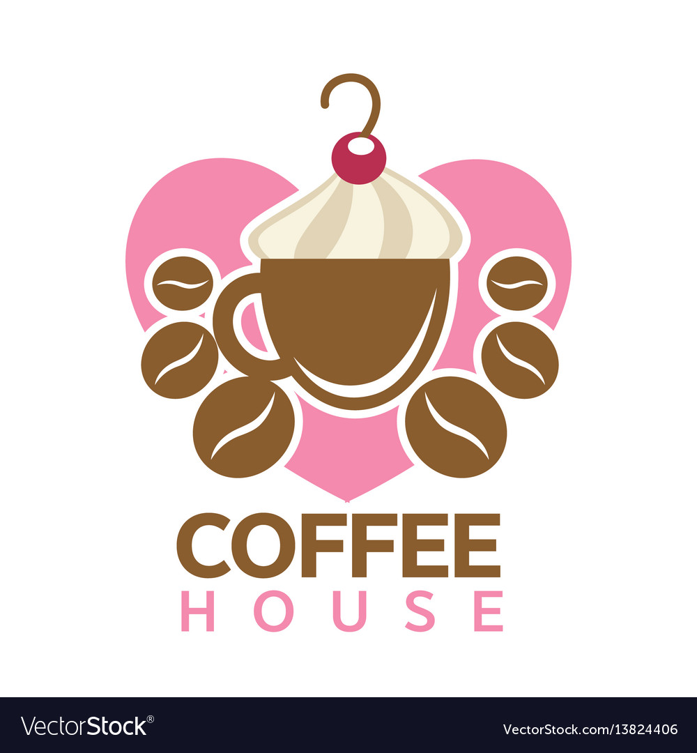 Coffee house colorful logotype sign isolated on vector image
