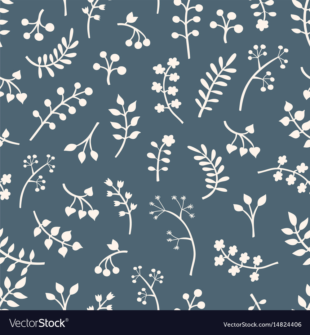 Floral seamless pattern with leaves and