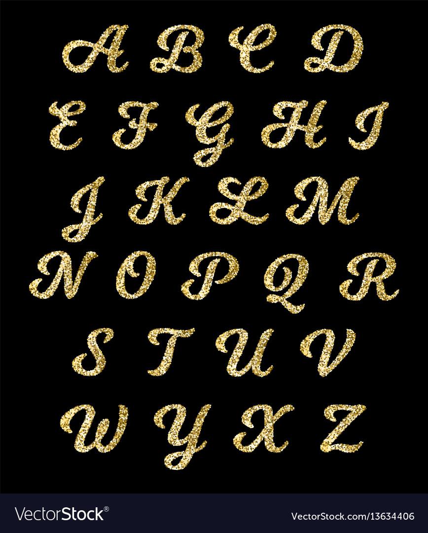 Golden glitter alphabet gold font letters