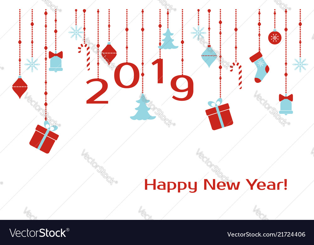 Happe new year 2019 greeting card