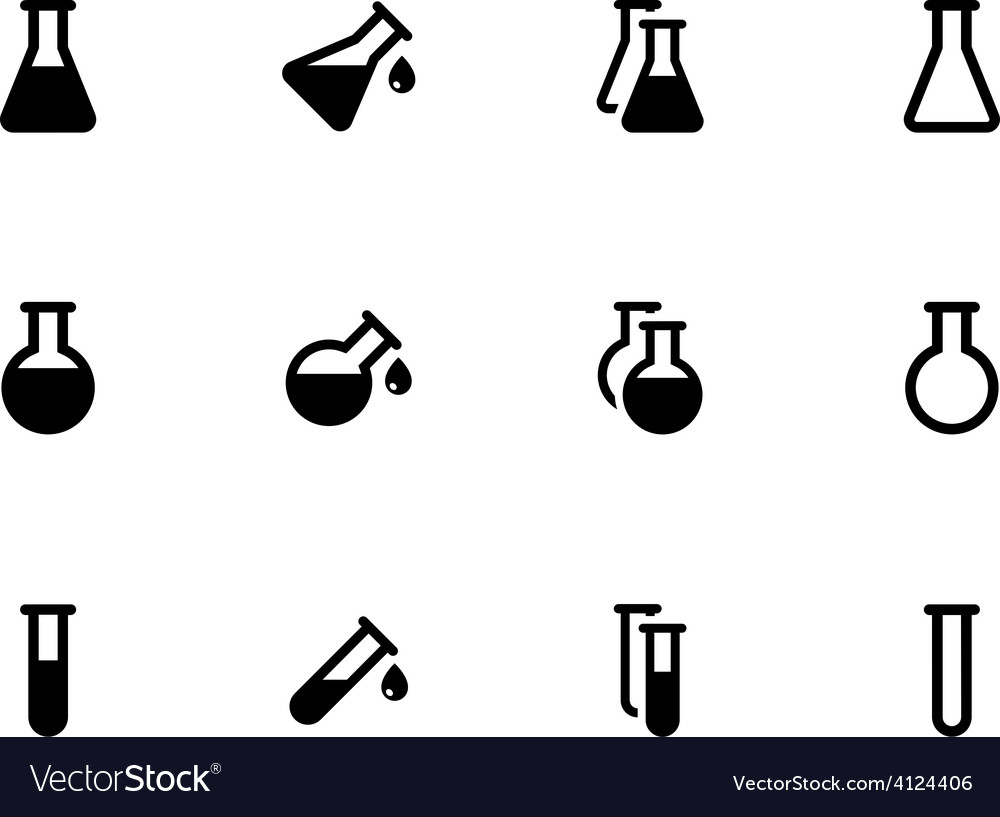 Lab flask icons on white background vector image