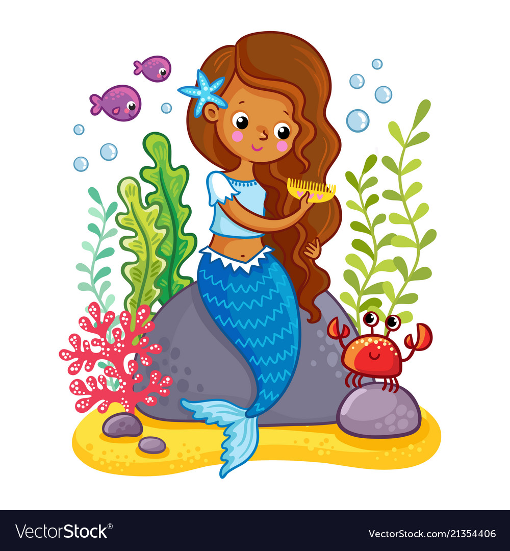 Mermaid sits on a rock and combs