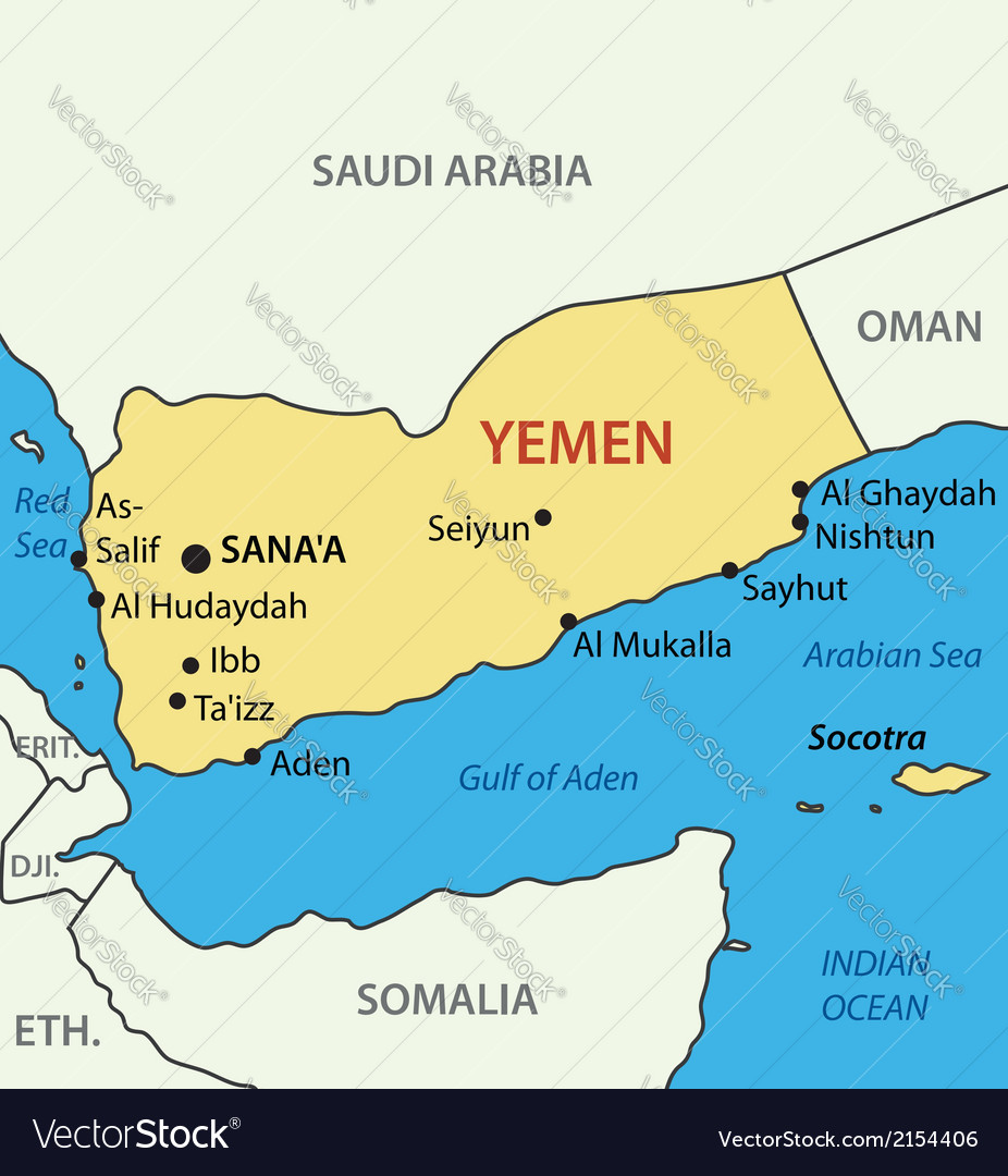 Republic Of Yemen Map Royalty Free Vector Image