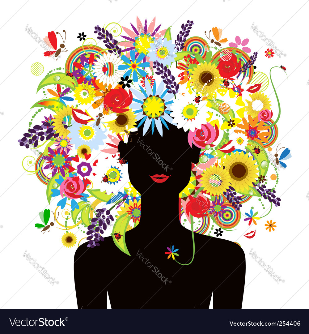 Summer face woman vector image