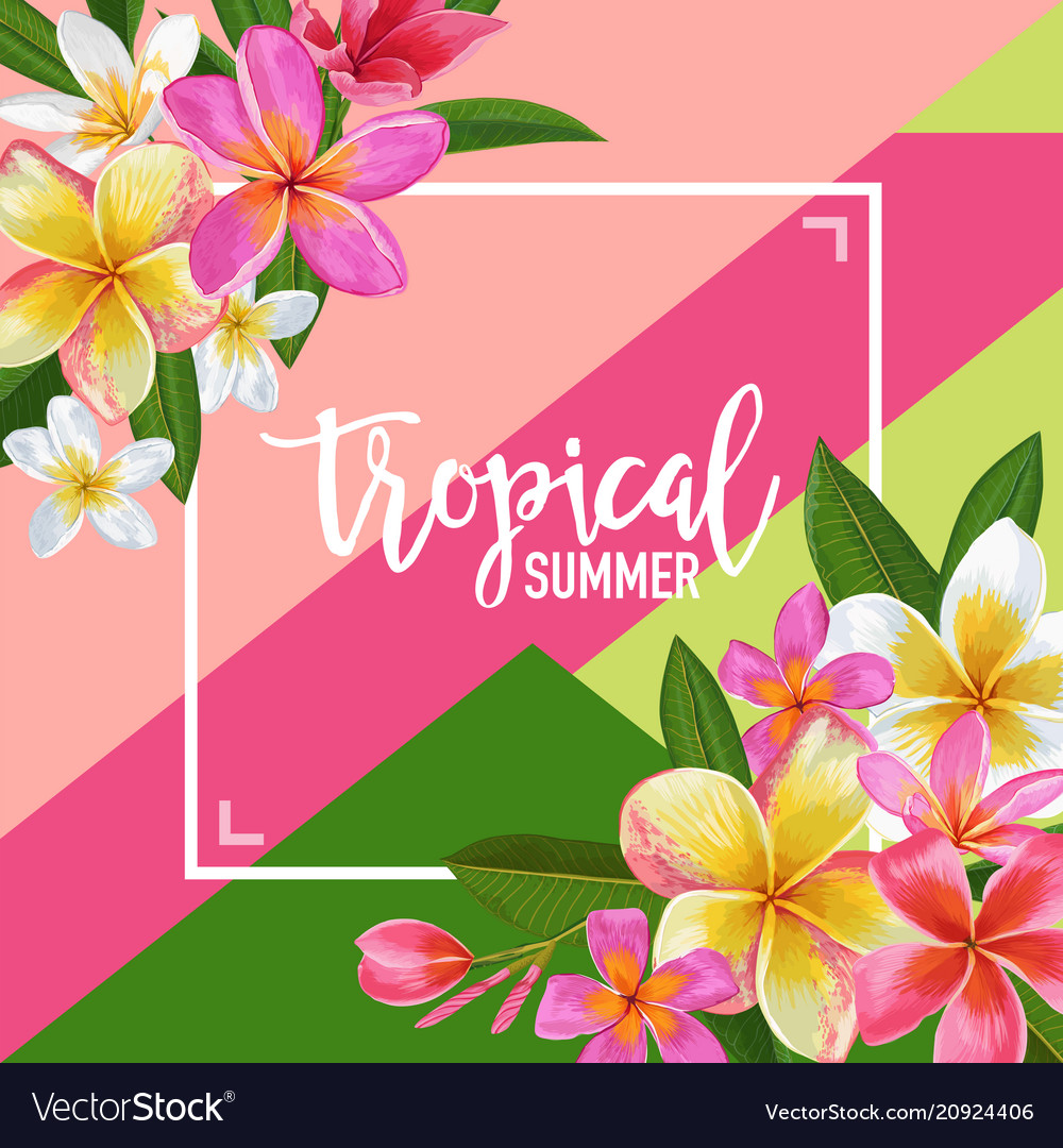 Summertime floral poster tropical exotic plumeria