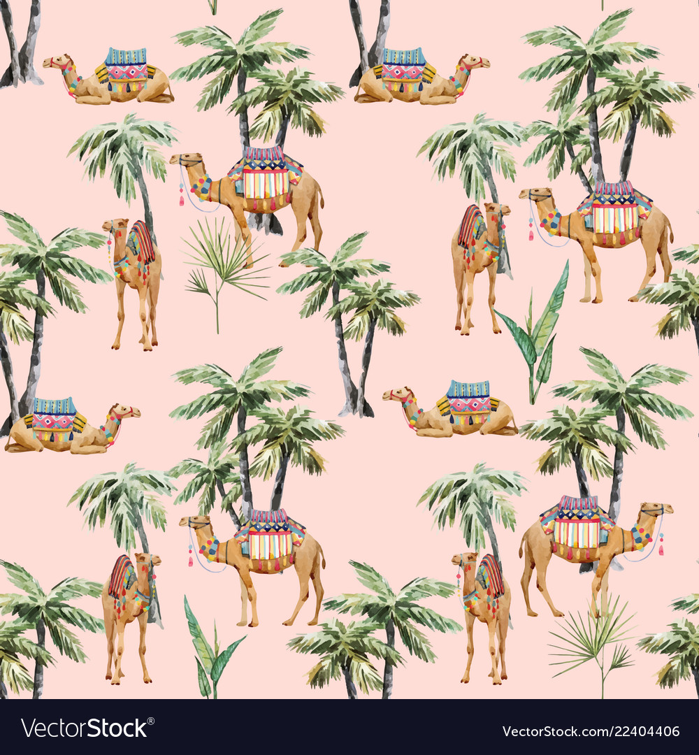 Watercolor camel and palm pattern