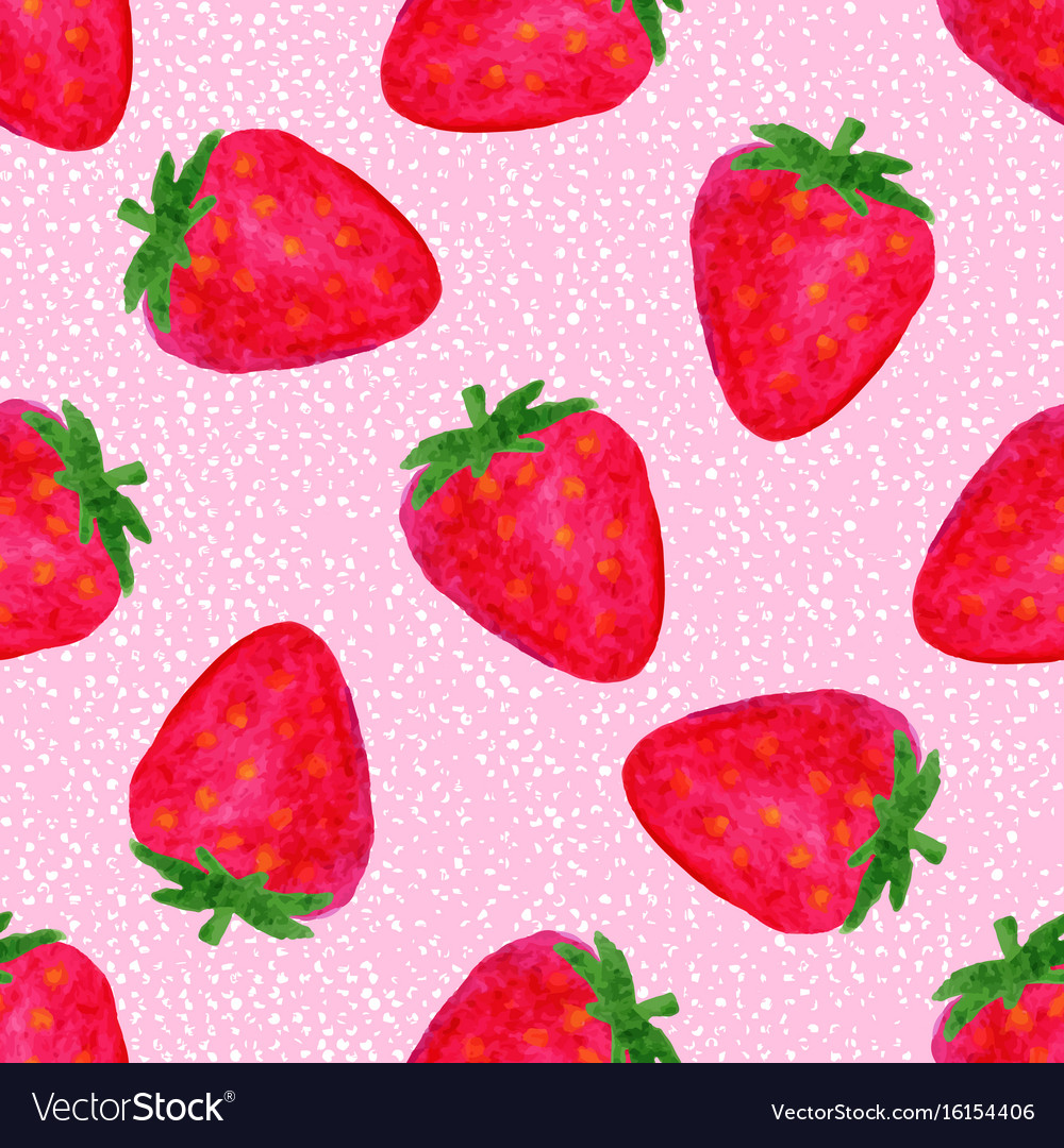 Watercolor seamless pattern with strawberries on